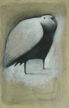 Standing White Bird with Crescent by Seth Fitts