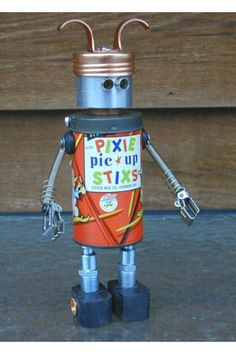 """""""PIXIE STIXS"""" Found Object Robot Sculpture Assemblage - Sally Colby. Etsy"""