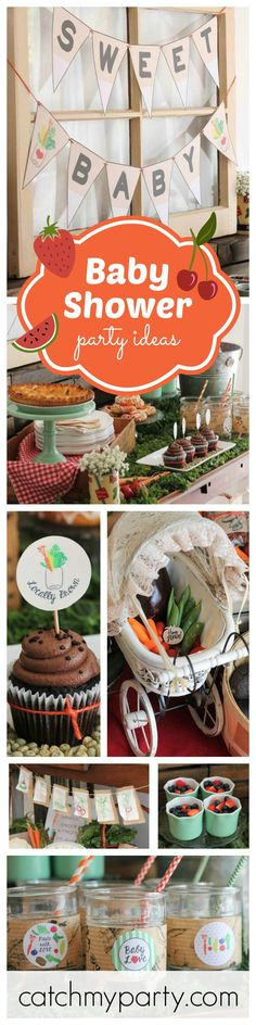 Fall in love with this absolutely adorable farmers market themed baby shower! The banners are just so cute and you can tell that all the decorations are made with so much love. See more party ideas at CatchMyParty.com