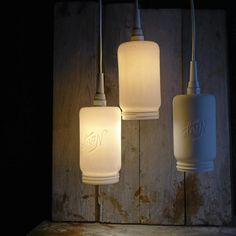 """Norgesglass"" lamp, by Cecilie Haaland. Sold by Hviit. Mason Jar Lighting, Mason Jar Lamp, Manson Jar, Just Do It, Sconces, Wall Lights, Table Lamp, Diy Projects, Glass"