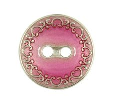 Aqua Pink Enamel With Silver Scrollwork Edge Metal Hole Buttons - 18mm - 11/16 inch