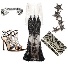 Black and white evening gown for a glamorous wedding guest #style #fashion #gown #wedding #blackandwhite