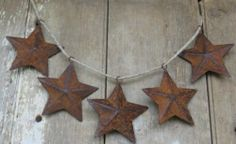(5) Five Double Sided Rusty Country Tin Metal Barn Star Christmas Decor Ornament