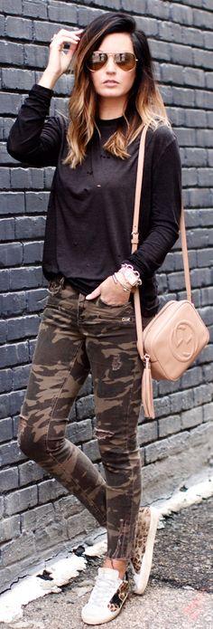 #winter #fashion / Black Knit / Camo Skinny Jeans / Beige Leather Shoulder Bag / Leopard Sneakers
