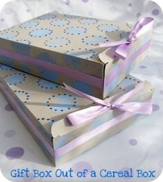 Gift box from a cereal box.  These are so readily available and easy to flatten. I save them throughout the year for all kinds of crafting projects. They sure come in handy as gift boxes too and take up little space when flattened.