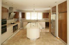 Two-tone White & Wood High Gloss Kitchen High Gloss Kitchen, White Wood, Modern, Trendy Tree, White Washed Wood