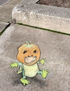"David Zinn posted a photo on Tumblr. October 27, 2014 - ""It's very important to practice your head-balancing and claw-wrangling skills before the big day."""