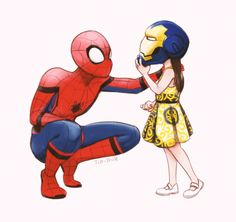 Peter Parker/Spiderman & Morgan Stark ❤ Happy to see Tony's little girl with his Spidey son 😍 Tony is one proud Papa 😭 I love you 3000 Marvel Funny, Marvel Dc Comics, Marvel Heroes, Marvel Movies, Marvel Universe, Loki, Thor, Univers Marvel, The Villain