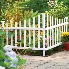 2-Piece Corner Picket Garden Fence. Crafted of premium weather-resistant vinyl, this white garden fence will not rust, crack or yellow. Do digging required – just shove it in the ground.