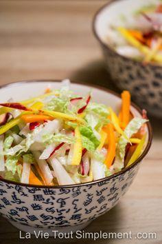 Recette de salade asiatique aux carottes, radis et chou