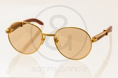 Image of Cartier wood 55-18 gold:: Vintage Sunglasses