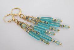 Chain Dangle Chandelier Earrings  Aqua