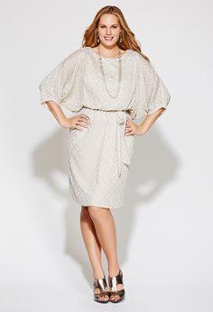 Rehearsal Dinner Dress:Plus Size Shimmery Belted Blouson Dress   Plus Size Party Dresses   Avenue
