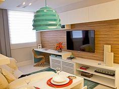 Decoração sala de estar painel de madeira
