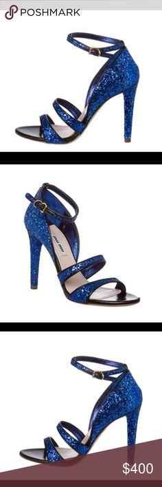 Miu Miu Women's Blue Glitter Sandals-PRICE DROP Brand New, Never Worn Miu Miu Women's Blue Glitter Stiletto Sandals - Size 39 - All original packaging included Miu Miu Shoes