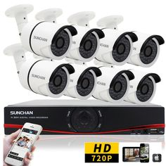 16 Channel HD Security Camera System Indoor Outdoor 1080N DVR 720P AHD CCTV 2TB #SUNCHAN