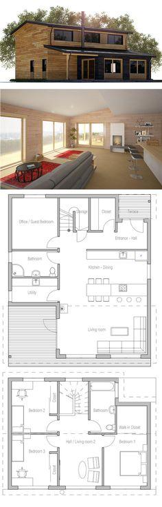 light , light, light ( small home plan ) Bungalow House Plans, Ranch House Plans, Craftsman House Plans, Small House Plans, House Floor Plans, Container House Plans, Container House Design, Casas Containers, Architecture Plan
