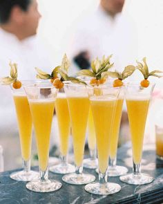 This Classic Wedding in Italy Began With An Unforgettable Entrance | Martha Stewart Weddings - Guests sipped Bellinis and mimosas made with fresh-pressed fruit juices.