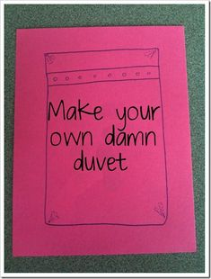 "Duvet Tutorial or ""Make Your Own Damn Duvet!"" i MUST learn to sew. i have a sewing machine! Sewing Hacks, Sewing Tutorials, Sewing Patterns, Sewing Ideas, Sewing Tips, Quilt Tutorials, Quilt Patterns, Fabric Crafts, Sewing Crafts"