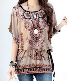 Ethnic Style Scoop Neck Batwing Sleeves Print Loose T-Shirt For Women Vintage T-shirts | RoseGal.com Mobile