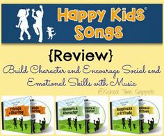 School Time Snippets: Happy Kids Songs {Review} Build Character and Encourage Social and Emotional Skills with Music. Pinned by SOS Inc. Resources. Follow all our boards at pinterest.com/sostherapy/ for therapy resources.