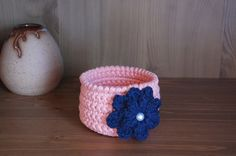These handmade crochet bowls are a fun and decorative way to stash your stuff around the home or office.  Great for holding small office supplies (paper clips, rubber bands), nail polish, makeup, jewelry, even a small potted plant.  Check out the link for more styles, ideas and information!  $18.00 by TheKnottyNeedle https://www.etsy.com/listing/218917144/housewarming-gift-crochet-basket #homedecor #crochetbowl #storagesolutions #deskset #makeup #jewelrybox