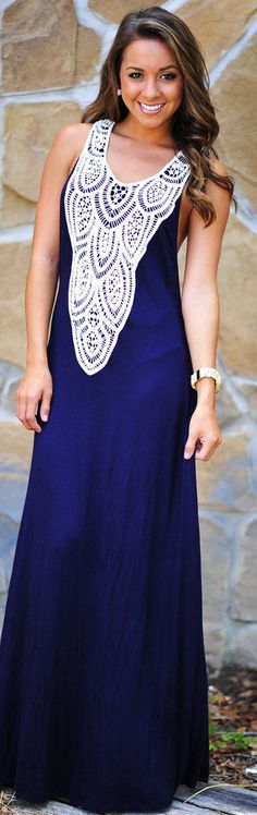 Crazy In Lace Maxi Dress: Navy