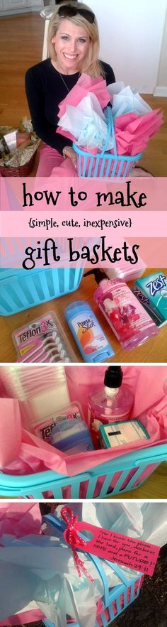how to put together an easy, cheap, cute gift basket this one cost ~ six $ total!