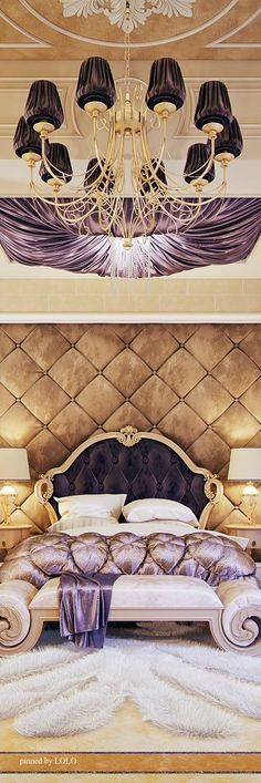 Glamorous, sumptuous and just about any other adjective of the ilk you can think of! This beautiful bed chamber is uber confident in its use of satins and silks in a parchment, gold, ivory and purple colour palette accompanied by a striking faux animal fur rug.