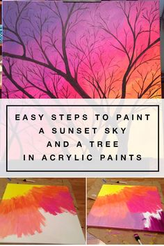 Easy steps to paint a sunset sky and a tree in acrylic paints – Eileen McKenna Art & Design Sunset Painting Easy, Simple Oil Painting, Sky Painting, Tree Painting Easy, How To Paint Sunset, Lips Painting, Painting Frames, Painting Lessons, Painting Techniques