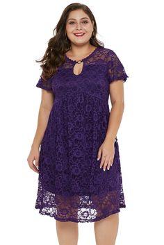 e9e68e0ccc1a KELLIPS Purple Lace Short Sleeve Plus Size Mini Dress