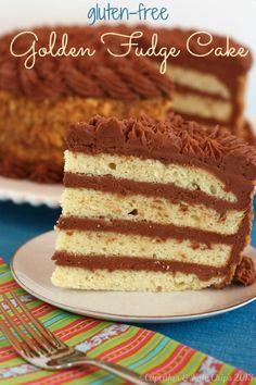 Gluten Free Golden Fudge Cake   cupcakesandkalechips.com   #glutenfree #birthdaycake