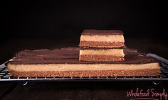 My Favourite Caramel Slice. Simple, delicious and free from gluten, grains, dairy, egg and refined sugar. I hope you enjoy it as much as we do. Raw Desserts, Paleo Dessert, Healthy Desserts, Dessert Recipes, Healthy Slice, Healthy Munchies, Easy Caramel Slice, Caramel Bars, Sugar Free Recipes