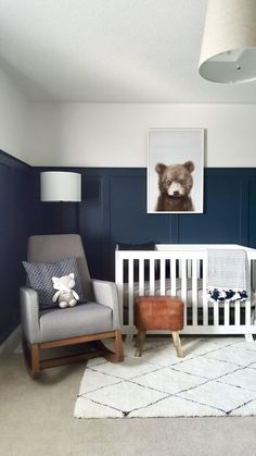 Modern Bear Woodland Nursery – Project Nursery Baby room – Home Decoration Baby Boy Rooms, Baby Bedroom, Baby Boy Nurseries, Kids Bedroom, Bedroom Ideas, Baby Room Ideas For Boys, Bedroom Decor, Bedroom Green, Bedroom Colors