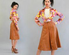 70er Jahre Leder Culottes  Vintage 70er Jahre braun Leder