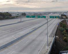 Empty Los Angeles highway. Los Angeles, California, USA. Photograph by Matt Logue.
