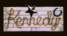 Items similar to KENNEDY : Western Rope Name Sign Cowboy Theme Room Nursery- Distressed Light Pink Finish- on Etsy Cute Baby Names, Colored Rope, Cottage Signs, Cowboy Theme, Western Parties, Distressed Painting, Name Signs, Shower Gifts, Girl Room