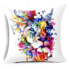 Comwarm Colorful Painting Animals Series Polyester Cushion Indian Fox Civet cats Bird Dogs Flocks Sofa Seat Car Home Decor Art