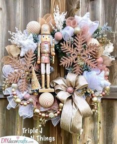 Excited to share this item from my shop: Nutcracker Wreath, Christmas Metallic Wreath, Rose Gold Christmas Wreath, Holiday Nutcracker Decor Rose Gold Christmas Decorations, Pink Christmas Tree, Christmas Door Wreaths, Magical Christmas, Christmas Centerpieces, Xmas Decorations, Christmas Crafts, Christmas Ideas, Nutcracker Decor