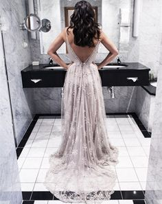 The Charming Lace And Tulle Prom Dresses,V-Neck Backless Prom Dresses,Prom Dresses,Floor-Length Prom on Luulla