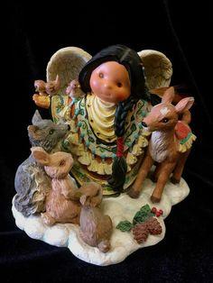 Friends of Feather~Enesco 1998 Tender of Spirits Angel Animals Figurine #375489~