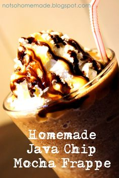 Homemade java chip mocha frappe- blend in some dark chic chips and choc coffee beans and instead of chocolate drink do milk w chocolate syrup Delicious Desserts, Yummy Food, Frappuccino Recipe, Coffee Recipes, Drink Recipes, Coffee Drinks, Smoothies Coffee, Healthy Juices, Yummy Eats