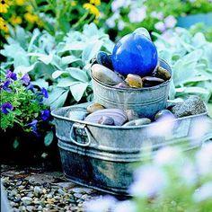 DIY garden fountain : DIY Gazing Ball Bubbler Fountain
