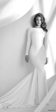 atelier pronovias 2018 bridal long sleeves batea neck simple clean elegant classy fit and flare wedding dress fringe back chapel train (17) mv -- Atelier Pronovias 2018 Wedding Dresses #wedding #bridal #weddings