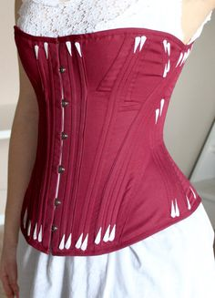 8172d8f5e3 Bordeuax Victorian Corset with white flossing