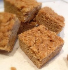 """Who could resist """"The English Kitchen"""" Flapjacks? These are heaven in a ounces butter 8 ounces demerara sugar 3 ounces golden syrup 10 ounces porridge oats Yummy Treats, Sweet Treats, Yummy Food, Healthy Food, No Bake Desserts, Dessert Recipes, Cake Recipes, Biscuits, Flapjack Recipe"""