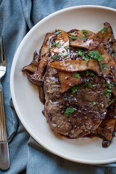 Bison Ribeye with Mushroom Rosemary Wine Reduction Sauce