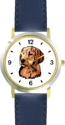 Golden Retriever Dog - WATCHBUDDY® DELUXE TWO-TONE THEME WATCH - Arabic Numbers - Blue Leather Strap-Children's Size-Small ( Boy's Size & Girl's Size ) WatchBuddy. $49.95