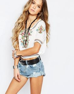 Image 1 ofGlamorous Embroidered Floral Peasant Blouse