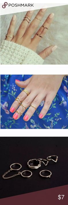 ❗️FREE FREE FREE ❗️Midi ring set Brand new midi ring set. Comes in silver or gold. Boho. Gypsy. Brandy   ‼️‼️‼️FREE WITH ANY BOUTIQUE PURCHASE OF $10+ . SIMPLY ADD TO BUNDLE & OFFER PRICE OF OTHER ITEM(S) ‼️‼️‼️ Jewelry Rings